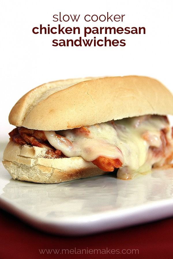 Slow Cooker Chicken Parmesan Sandwiches | Melanie Makes