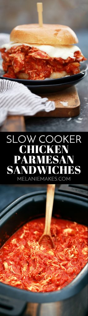 These Slow Cooker Chicken Parmesan Sandwiches take just 10 minutes to prepare and are the definition of true comfort food. A hearty tomato sauce imparts it's amazing flavor to the chicken while ooey, gooey, melty cheese is the perfect finishing touch.