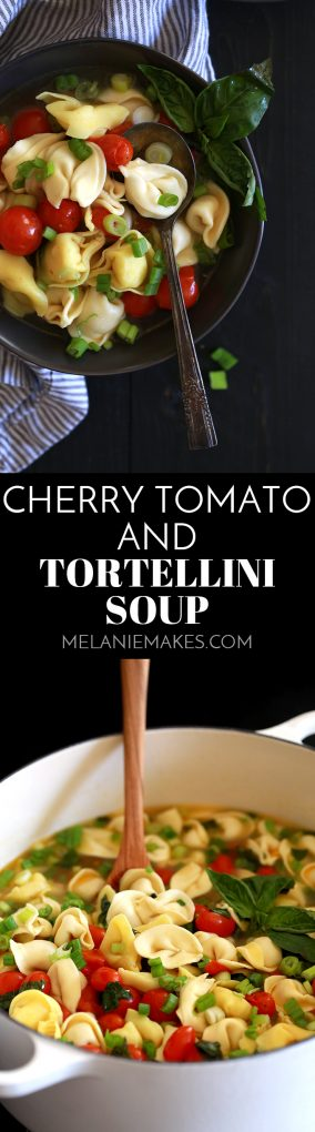 ThisCherry Tomato and Tortellini Soup is the quickest soup you'll ever create, yet it's packed with so much flavor. A broth full of burst cherry tomatoes, cheese filled tortellini, rounds of green onions and ribbons of basil make this a soup you'll make over and over again.