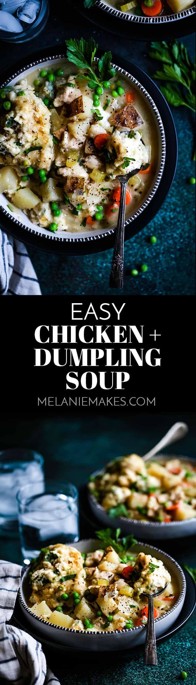 Nothing beats the chill of a winter's day like this Easy Chicken and Dumpling Soup. The shortcut parsley studded dumplings definitely steal the show! #soup #chicken #dumplings #easyrecipe #potatoes #carrots #souprecipes