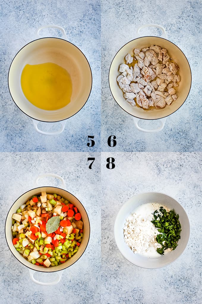 Step by step photos of how to create Easy Chicken and Dumpling Soup, steps 5-8.