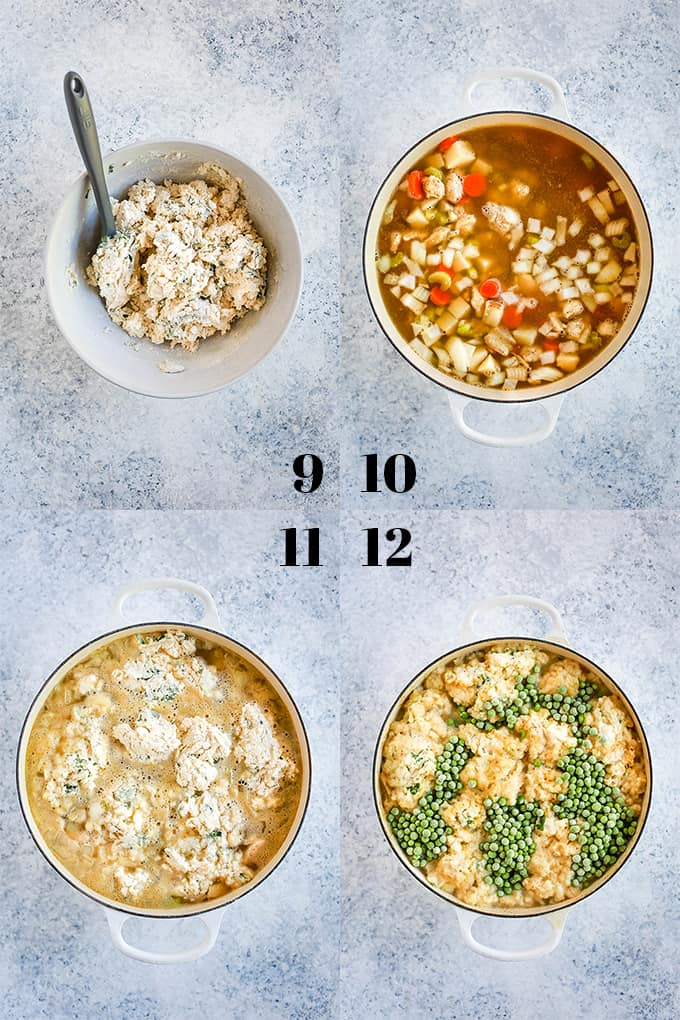 Step by step photos of how to create Easy Chicken and Dumpling Soup, steps 9-12.