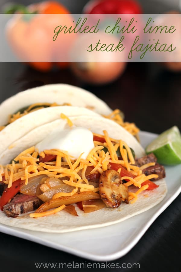 Grilled Chili Lime Steak Fajitas | Melanie Makes melaniemakes.com