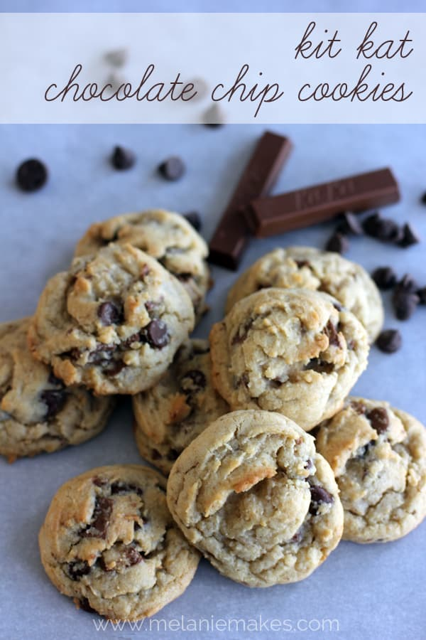 Kit Kat Chocolate Chip Cookies | Melanie Makes melaniemakes.com