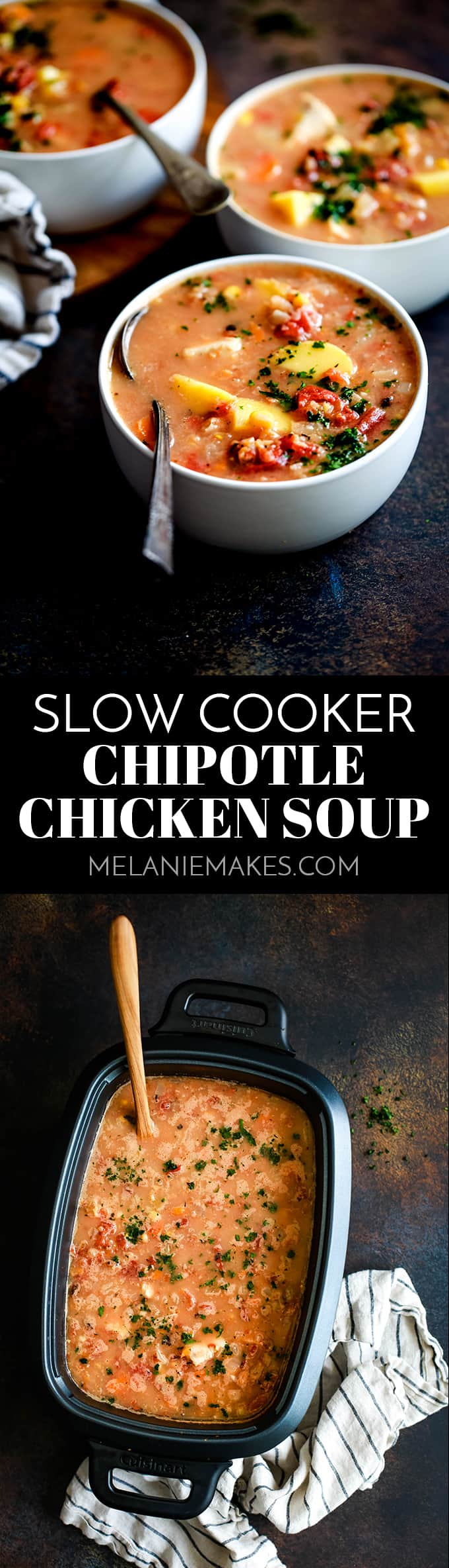 This smokey Slow Cooker Chipotle Chicken Soup comes together in just minutes, making it one of the easiest - and most delicious! - meals you can prepare any night of the week. #slowcooker #crockpot #chicken #soup #easyrecipe #chipotle.
