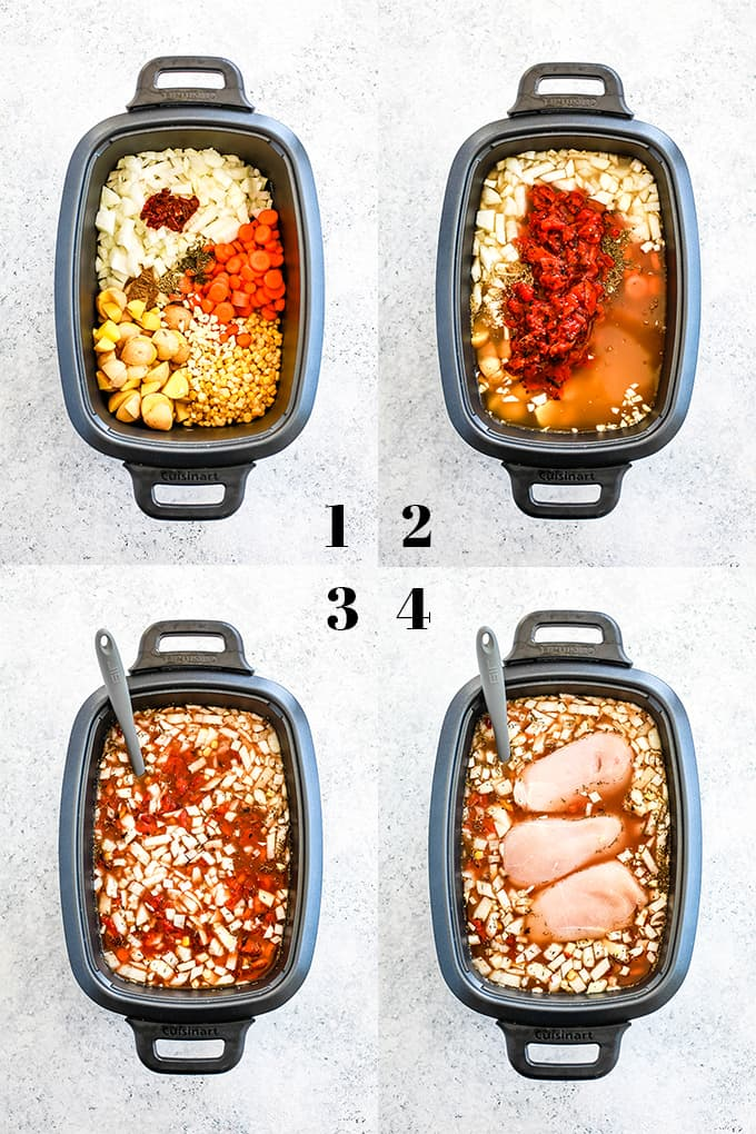 How to prepare Slow Cooker Chipotle Chicken Soup, steps 1-4.