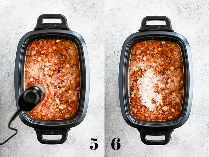 How to prepare Slow Cooker Chipotle Chicken Soup, steps 5-6.