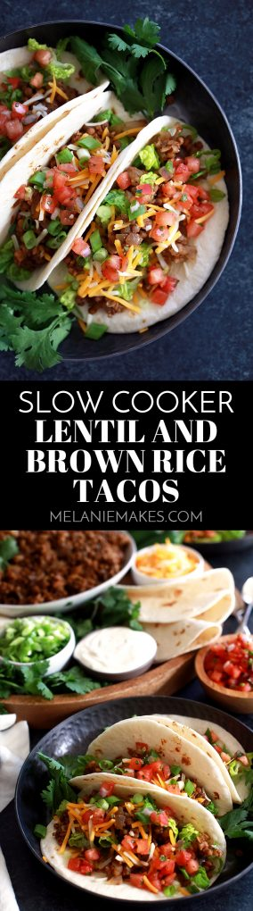 These incredibly easy Slow Cooker Lentil and Brown Rice Tacos will completely change your weekly taco night.  Simply add all of the ingredients to the slow cooker, stir and walk away.  Dinner will be waiting for you, not the other way around. #tacos #rice #lentils #mexicanfoodrecipes #slowcooker #crockpot #easyrecipe