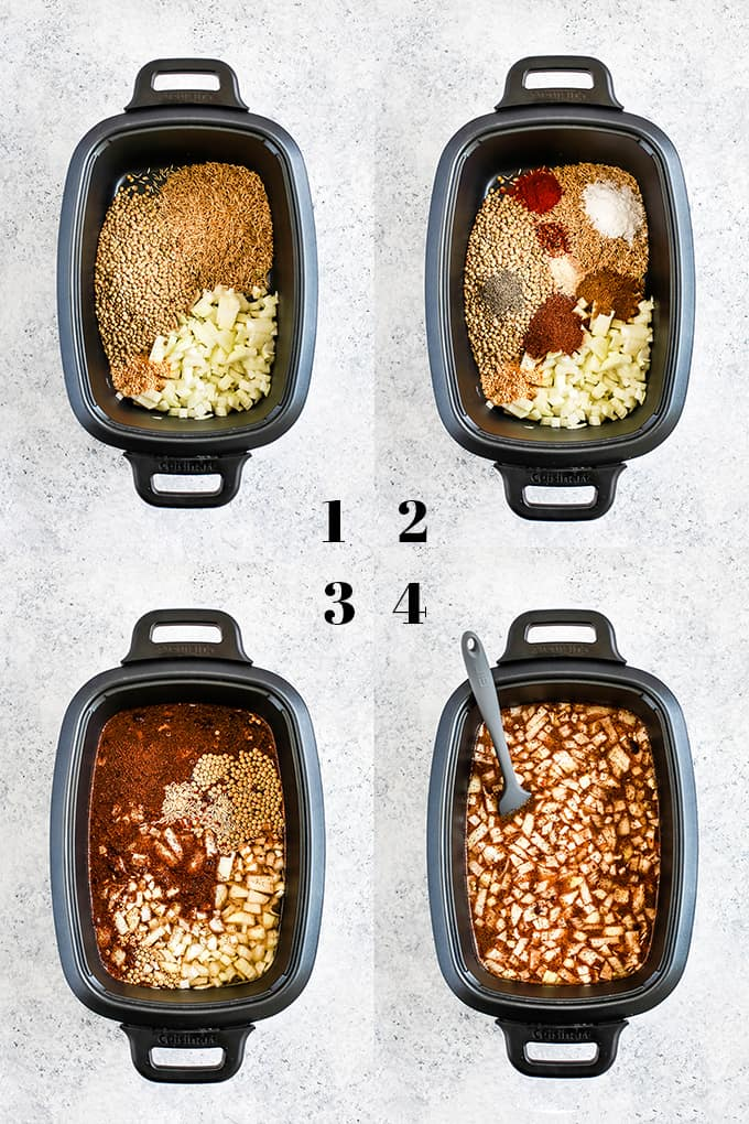 How to create Slow Cooker Lentil and Brown Rice Tacos, steps 1-4.