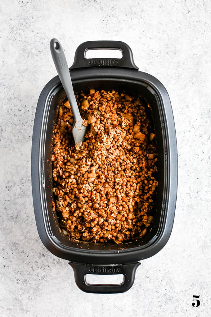 How to create Slow Cooker Lentil and Brown Rice Tacos, step 5.