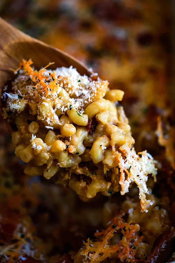 A wooden spoon full of Bacon Crusted Beer Mac and Cheese.