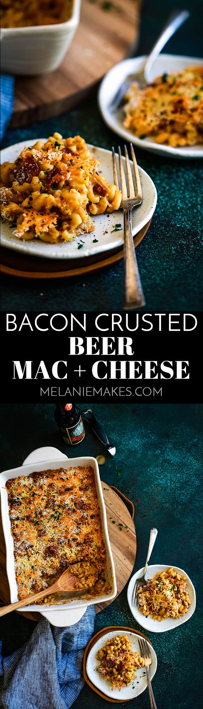 This Bacon Crusted Beer Mac and Cheese is a double cheesy pasta bathed in a beer sauce and topped with a cheese and bacon crust.  Total comfort food! #bacon #beer #macaroni #pasta #cheese #comfortfood #easyrecipe #bacon