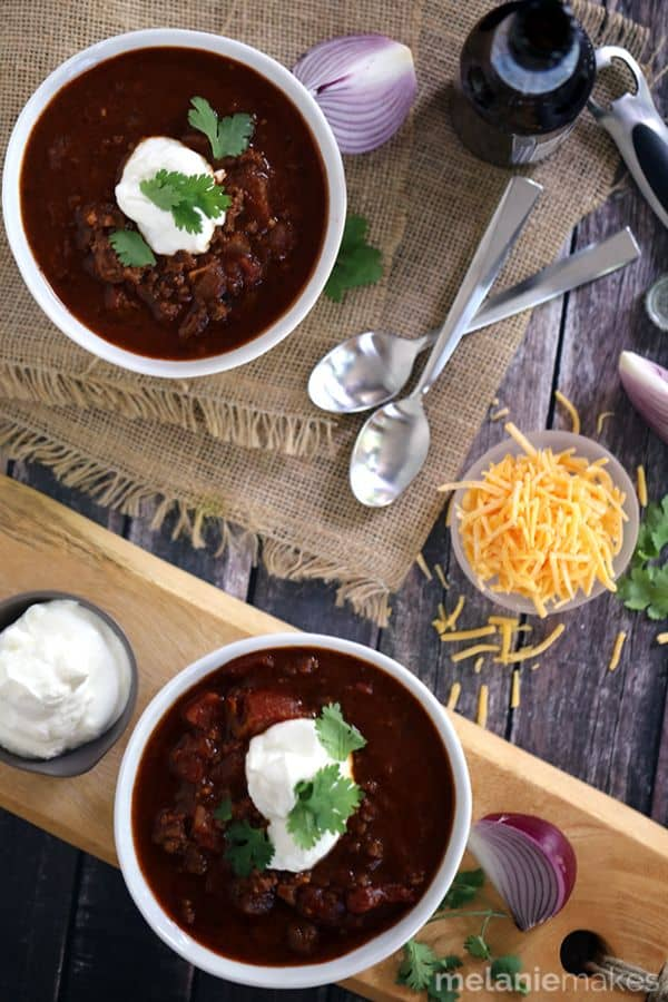 Beer Braised Beenless Chili | Melanie Makes