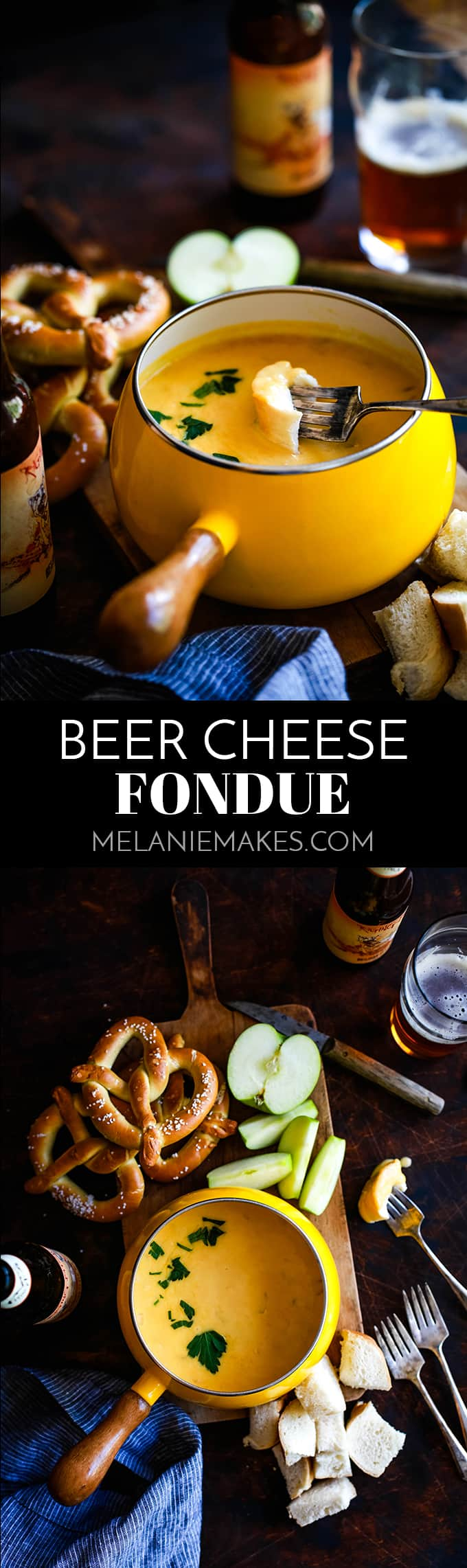 This Beer Cheese Fondue makes for a perfect game day appetizer.  Your favorite beer, cheddar cheese and onion become a perfect, melty dipping sauce. #fondue #cheese #appetizers #partyfood #party #dips #beer