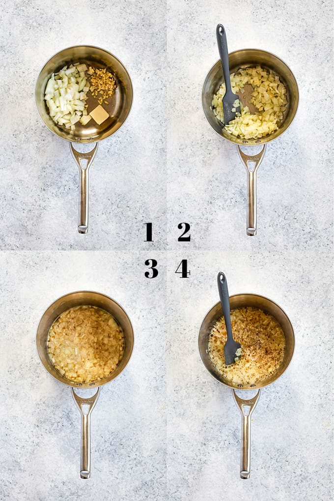 Step by step photos of how to create Beer Cheese Fondue, steps 1-4.