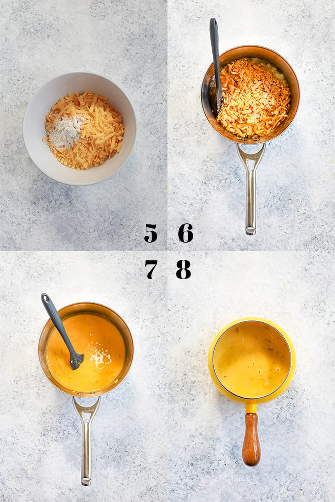Step by step photos of how to create Beer Cheese Fondue, steps 5-8.