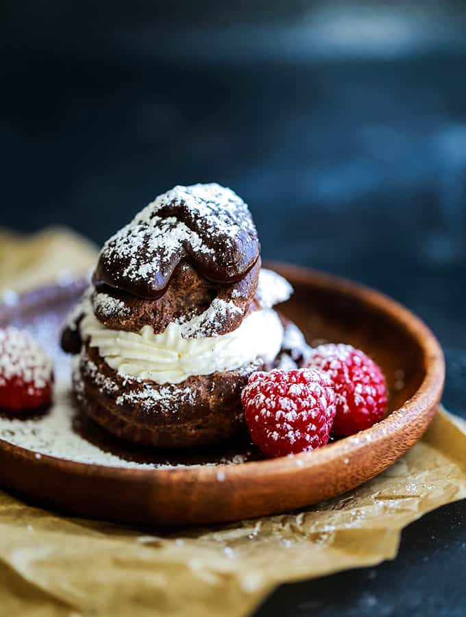 Chocolate Cream Puffs with Honey Rum Whipped Cream