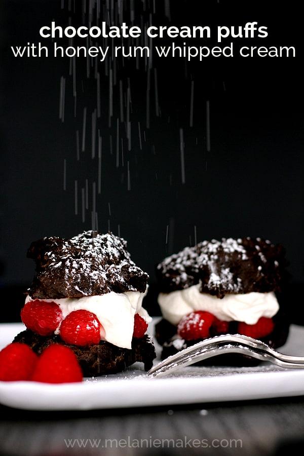 Chocolate Cream Puffs with Honey Rum Whipped Cream | Melanie Makes