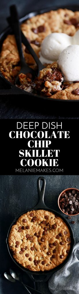 This Deep Dish Chocolate Chip Skillet Cookie is the epitome of chocolatey goodness and is mixed in the same skillet it's cooked in! #cookies #cookingrecipes #chocolatechip #easyrecipe #desserts
