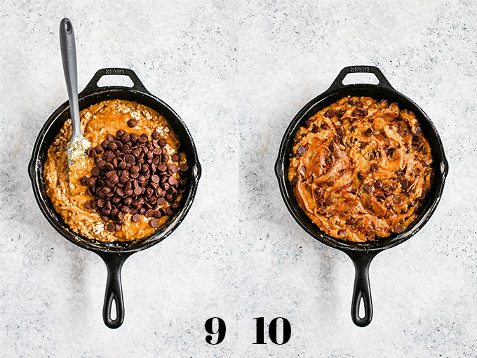 How to prepare Deep Dish Chocolate Chip Skillet Cookie, steps 9-10.