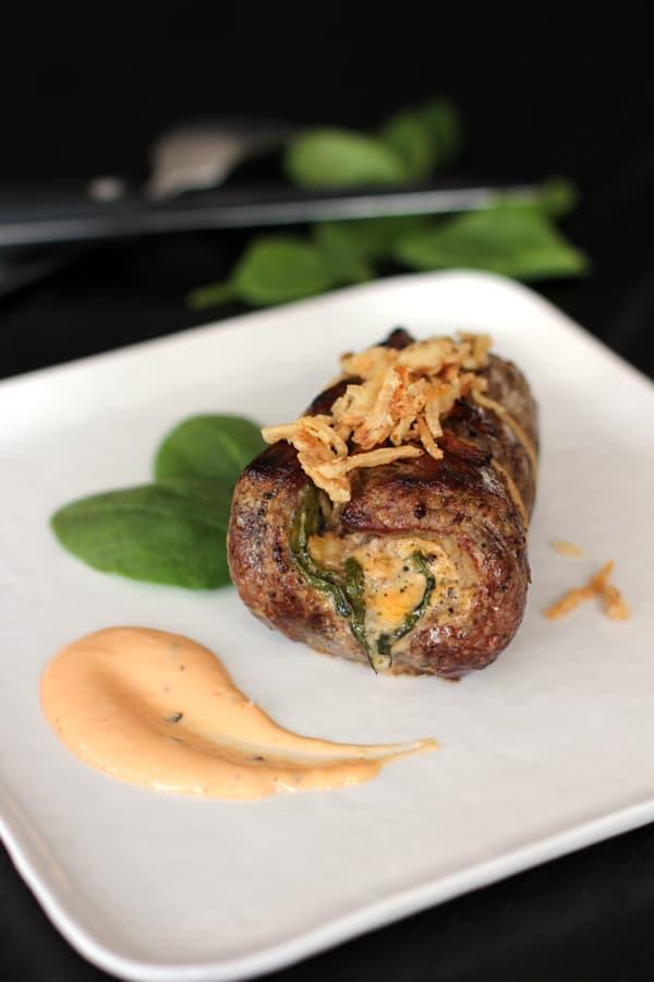 Onion Blossom Stuffed Flank Steak | Melanie Makes melaniemakes.com