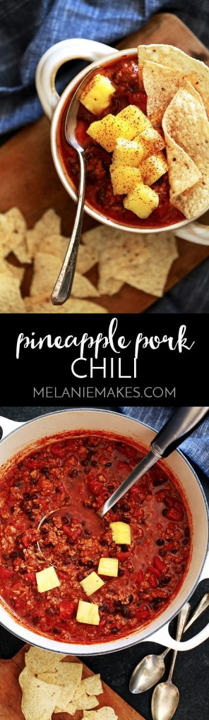 A garnish of fresh pineapple makes for the ultimate combination of sweet and smoky in this Pineapple Pork Chili. Ground pork, pineapple salsa, fire roasted tomatoes and black beans mingle together in a large pot to create a one of a kind, unforgettable chili.