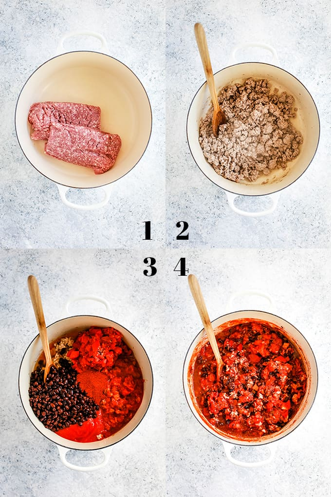 Step by step instructions on how to create Pineapple Pork Chili, steps 1-4.