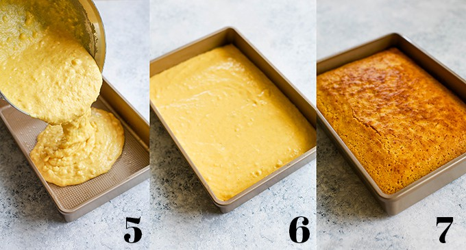 Steps to create Simple Sweet Cornbread with a baking pan holding the batter and sitting on a white background.