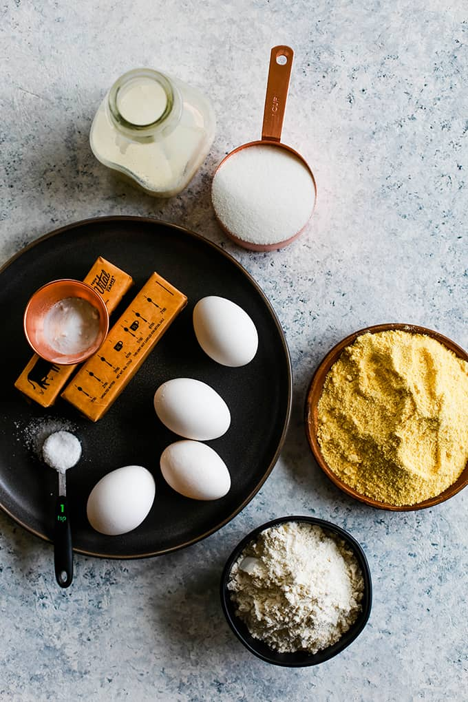 All of the ingredients necessary to create Simple Sweet Cornbread.