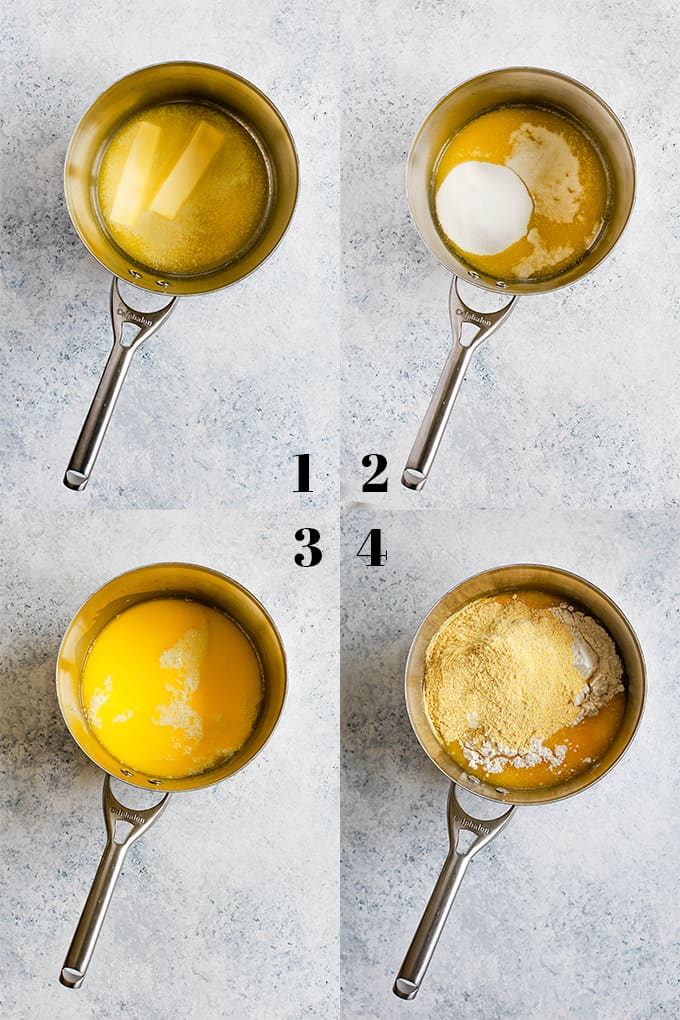 The first four steps of creating Simple Sweet Cornbread with a saucepan holding the ingredients on a white background.