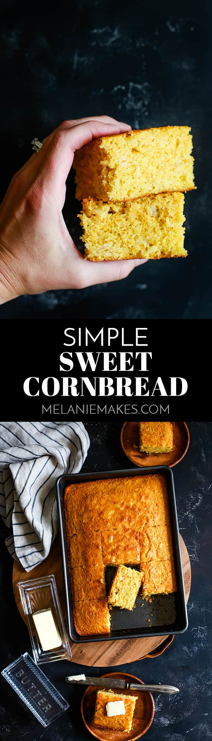 Quick and easy is the name of the game with this Simple Sweet Cornbread.  The perfect eight ingredient side dish for your favorite soup, chili or stew that takes just 10 minutes to prepare. #cornbread #bread #breadrecipes #easyrecipe #sidedish