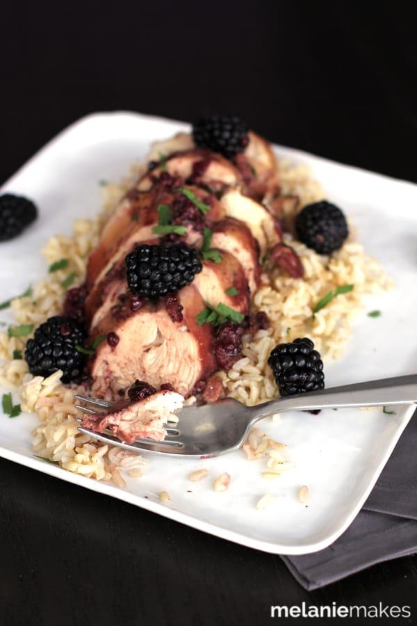 Slow Cooker Blackberry Chicken | Melanie Makes
