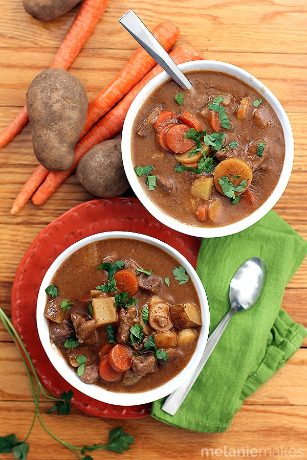 Large pieces of stew meat and root vegetables float lazily in a broth flavored with stout beer. The perfect bowl of comfort to see you through a never ending winter, this Stout Beer Beef Stew will leave your belly full and your taste buds happy.
