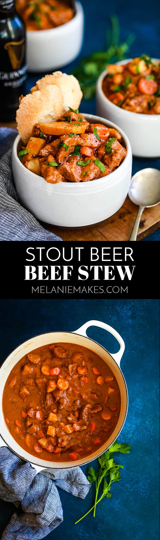 The perfect bowl of comfort to see you through a never ending winter, this Stout Beer Beef Stew will leave your belly full and your taste buds happy. #beer #beeffoodrecipes #beef #stew #soup #comfortfood #easyrecipe