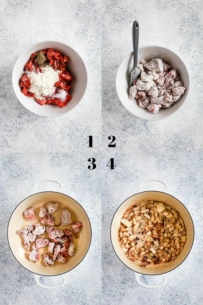 Step by step photos of how to create Stout Beer Beef Stew, steps 1-4.