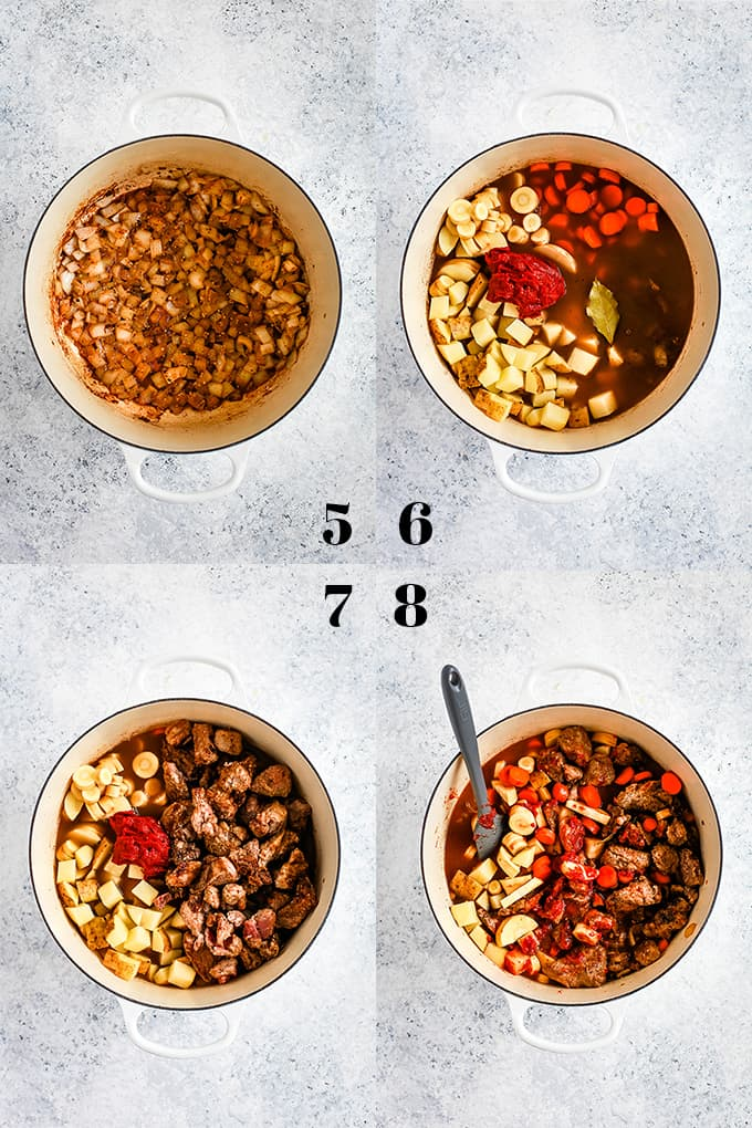 Step by step photos of how to create Stout Beer Beef Stew, steps 5-8.