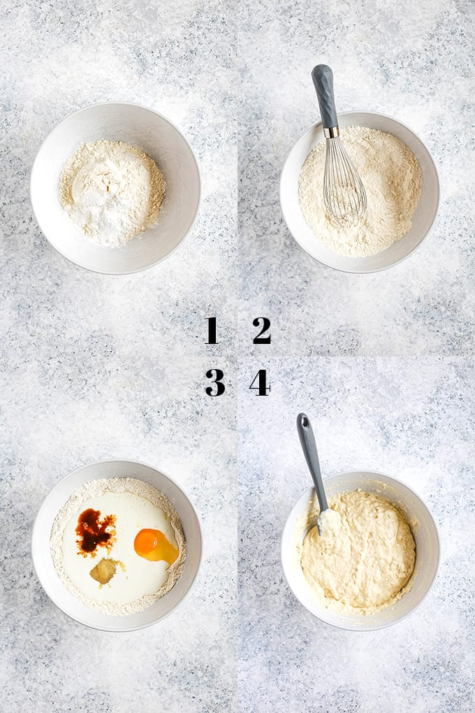 How to prepare the Best Buttermilk Pancakes, steps 1-4.