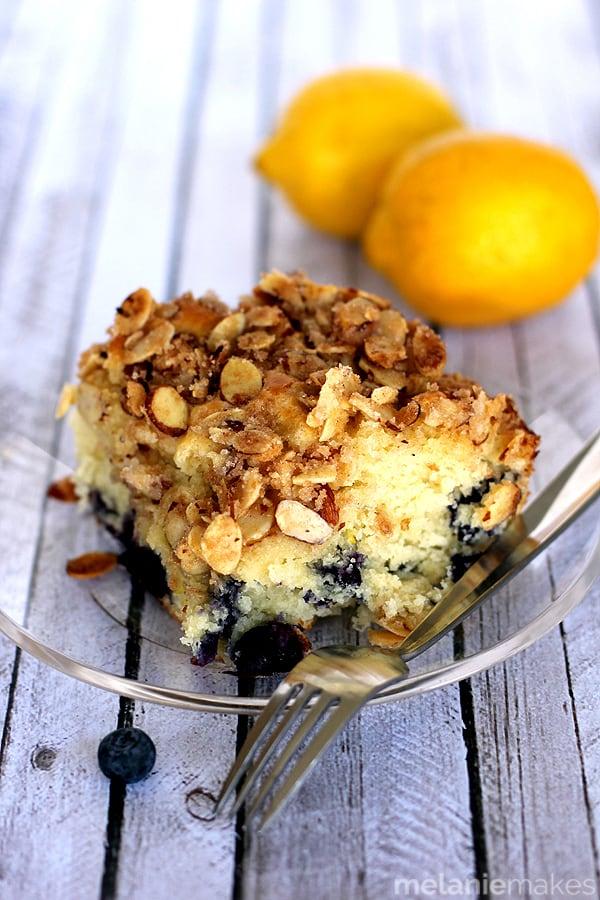 Blueberry Lemon Almond Coffee Cake | Melanie Makes