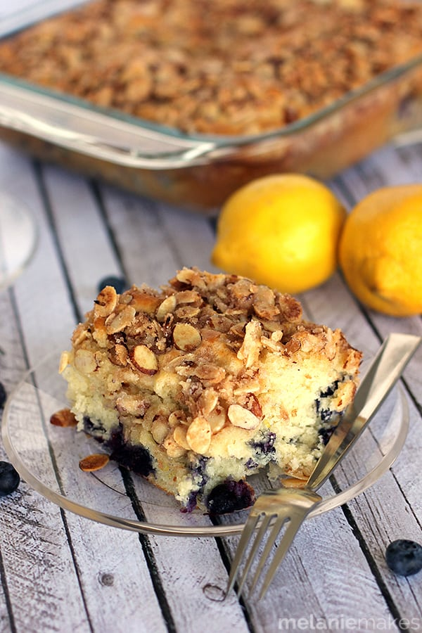 Blueberry Lemon Almond Coffee Cake | Melanie Makes