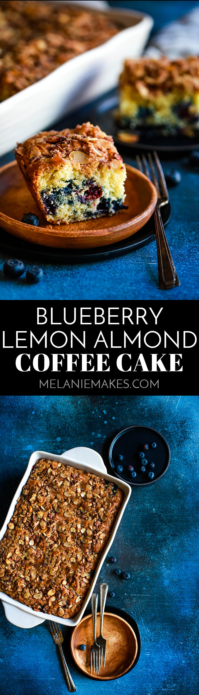 This light and fluffy Blueberry Lemon Almond Coffee Cake is studded with fresh blueberries and topped with an amazing cinnamon sugar almond crumble. #blueberry #lemon #almond #coffeecake #breakfast #brunch #cake