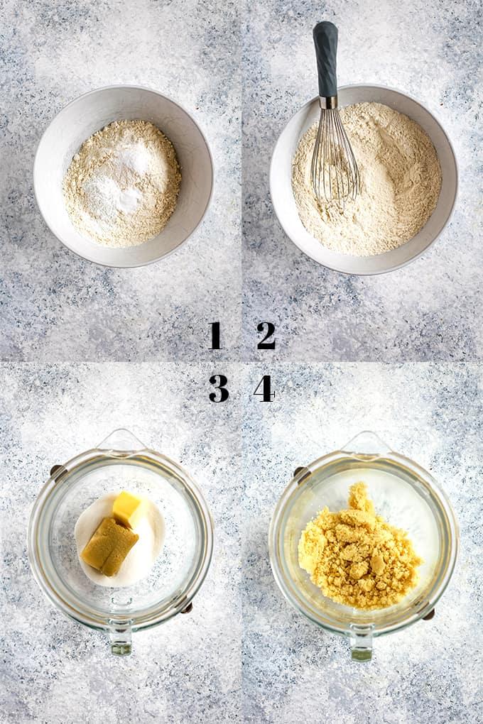 How to prepare Blueberry Lemond Almond Coffee Cake, steps 1-4.