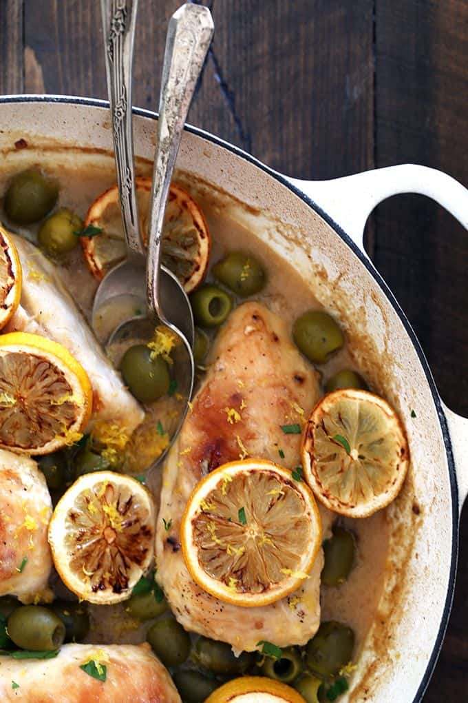 Avoid chicken burnout and awaken your weekly menu plan with this Chicken with Roasted Lemons and Green Olives. Brighten your plate and your taste buds with this dynamic duo of ingredients.