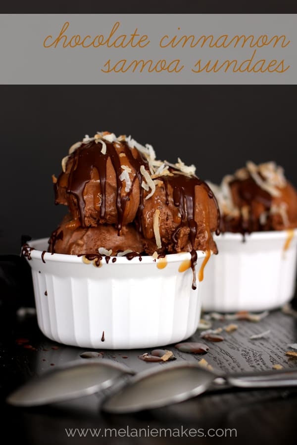 Chocolate Cinnamon Samoa Sundaes | Melanie Makes melaniemakes.com
