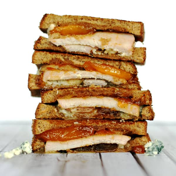 Honey Glazed Peach and Pork Tenderloin Grilled Cheese