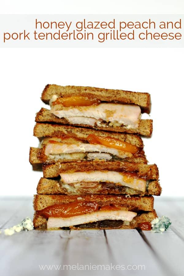 Honey Glazed Peach and Pork Tenderloin Grilled Cheese | Melanie Makes melaniemakes.com
