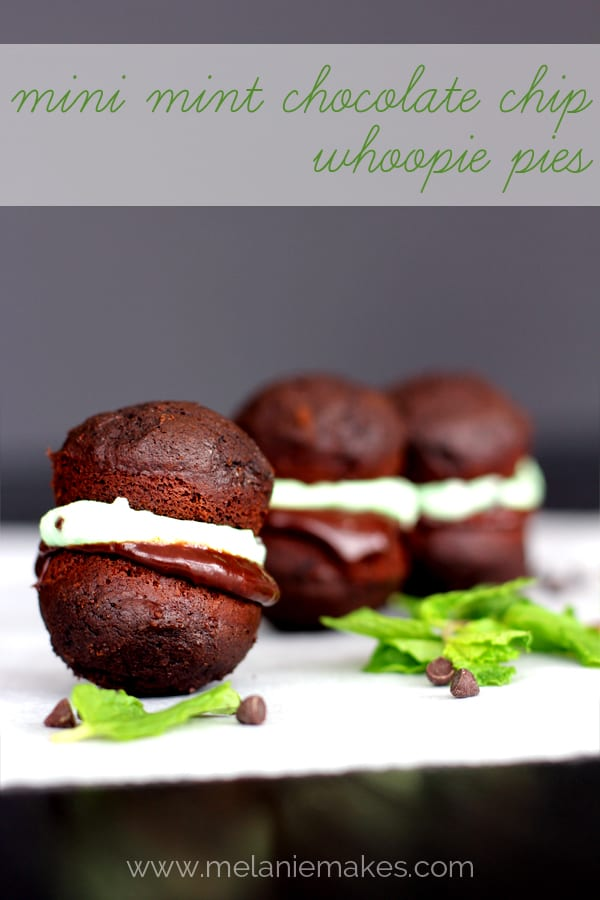 Mini Mint Chocolate Chip Whoopie Pies | Melanie Makes melaniemakes.com