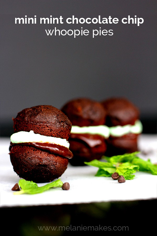 Mini Mint Chocolate Chip Whoopie Pies | Melanie Makes