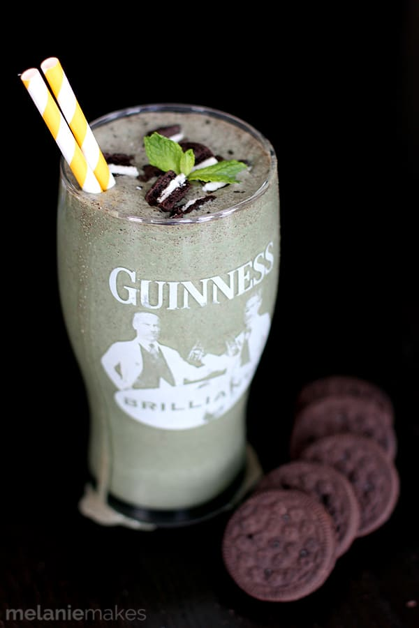 This five ingredient Mint Cookies and Stout Shake is perfect for St. Patrick's Day or any other day you'd like! Create your own adult milkshake featuring your favorite stout beer, Irish cream, mint chocolate chip ice cream and chocolate sandwich cookies.