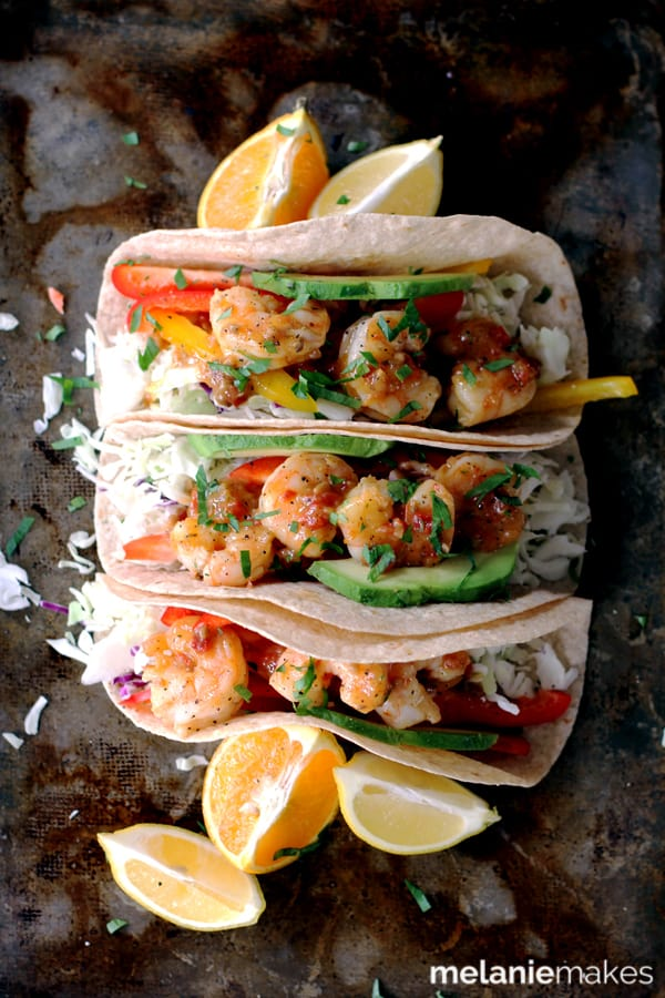 Flour tortillas topped with the crunch of fresh vegetables and delicious sauteed shrimp.  These Rosemary Citrus Shrimp Tacos are not only the most flavorful tacos you've ever made, but the only ones that you've taken just 15 minutes to prepare.
