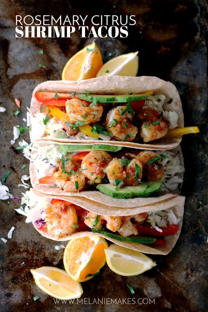 Flour tortillas topped with the crunch of fresh vegetables and delicious sautéed shrimp.  These Rosemary Citrus Shrimp Tacos are not only the most flavorful tacos you've ever made, but the only ones have taken just 15 minutes to prepare.